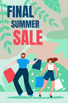 Flat banner is written final summer sale cartoon.