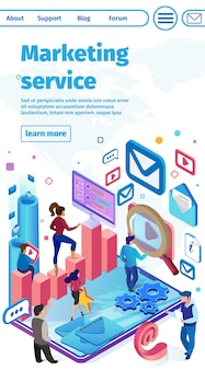 Flat banner is written marketing services vector.