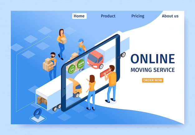 Flat banner is written online moving service