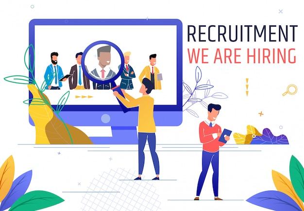 Flat banner is written recruitment we are hiring.
