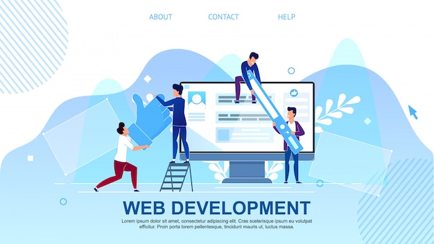 Flat banner is written web development cartoon.