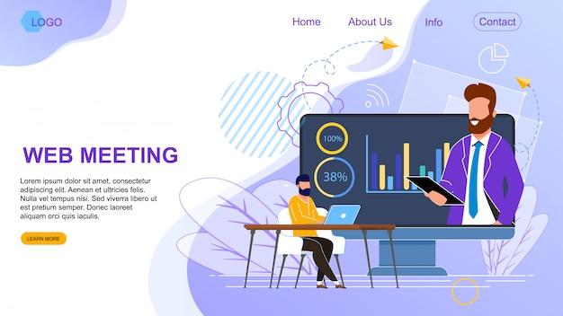 Flat banner is written web meeting landing page.