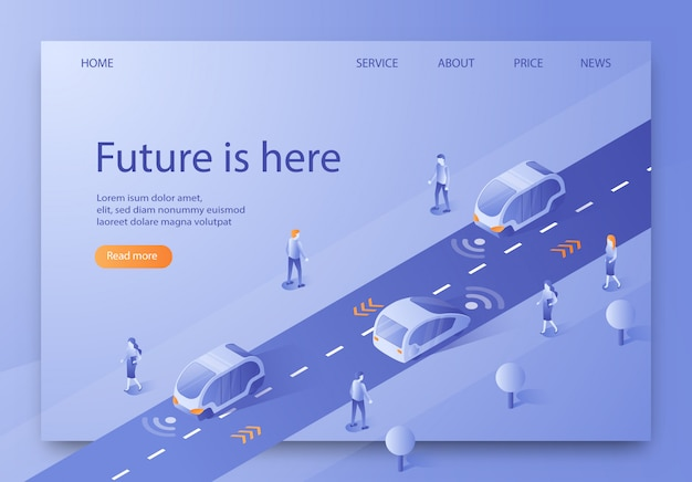 Flat banner isometric is written future is here.