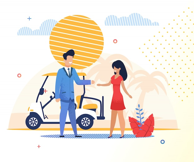 Flat banner man and woman use hotel transport.