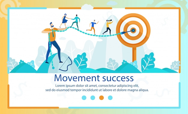 Flat banner movement success lettering cartoon