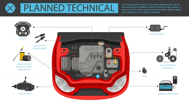 Flat banner planned technical automobile in car.