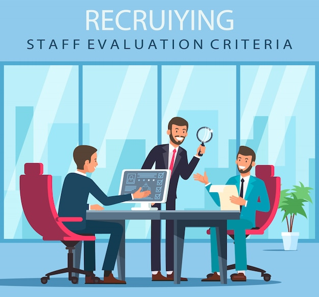 Flat banner recruiting staff evaluation criteria.