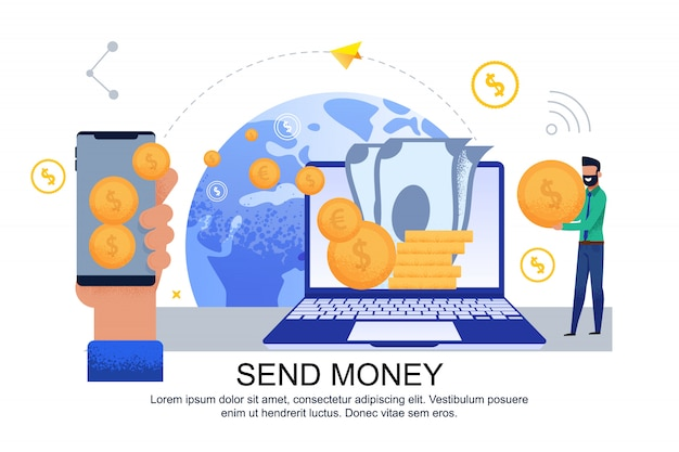 Flat banner send money transfer from card to card.