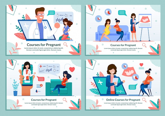 Flat banner set advertising courses for pregnant