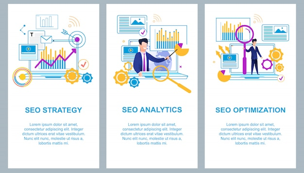 Flat banner set seo analytics optimization on laptop screen arrow goes up