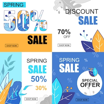 Flat banner set spring sale 30, 50, 70, percent.
