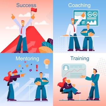 Flat banner set success coaching metoring training