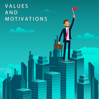 Flat banner values and motivations job seeker.