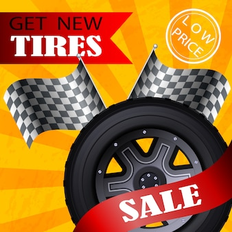 Flat banner vector get new tires sale low price.