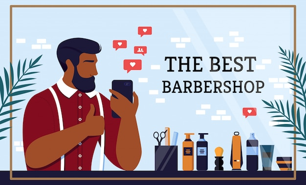 Flat banner written by the best barbershop cartoon