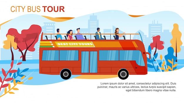 Туристический городской автобусный тур flat banner
