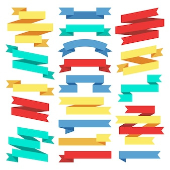 Flat banners ribbons web stickers stock