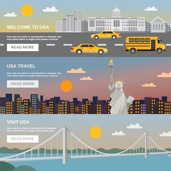 Flat banners set usa travel information