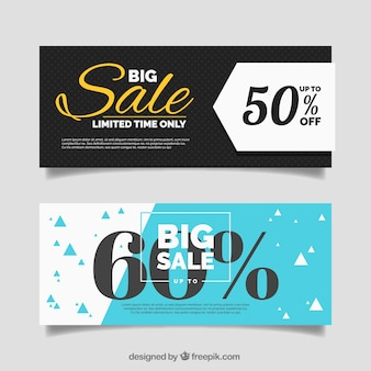 Flat banners with big sale