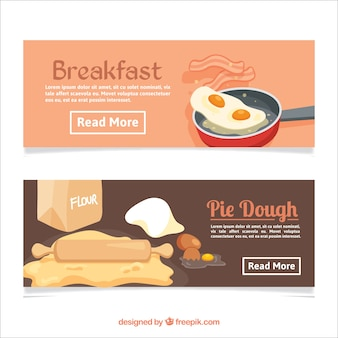 Flat banners with breakfast and pie dough