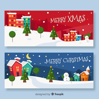 Flat banners with christmas town