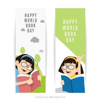 世界の本の日の幸せな女の子とフラットバナー