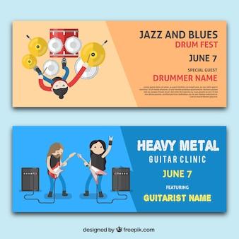 Striscioni piane con musicisti