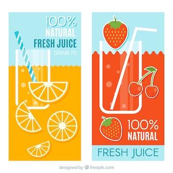 オレンジとストロベリージュースのフラットバナー