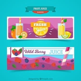 オレンジと野生の果実ジュースとフラットバナー