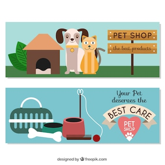 Flat banners with pet elements