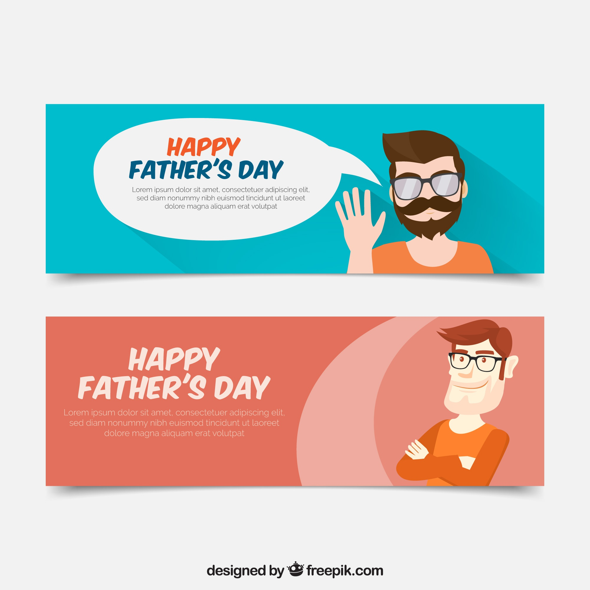 Flat banners with proud man for father's day