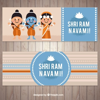 Flat banners with smiling characters for ram navami