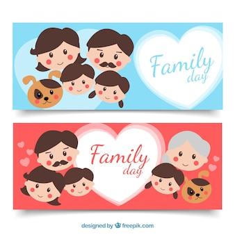 Flat banners with smiling people for family day