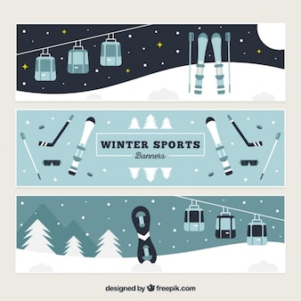 Flat banners with snow sports