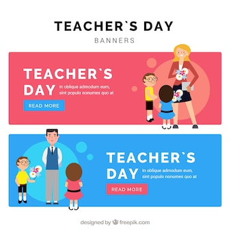 Flat banners with students and teachers
