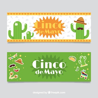 Striscioni piane con elementi messicani tradizionali di maggio cinque