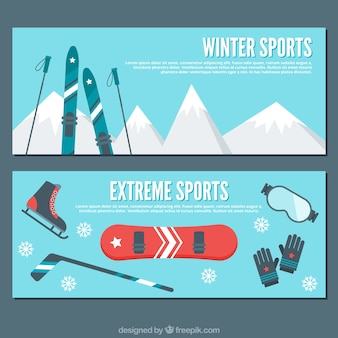 Flat banners with winter sports elements