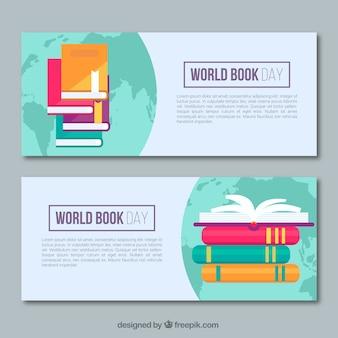 Striscioni piatto con mappa del mondo e libri colorati