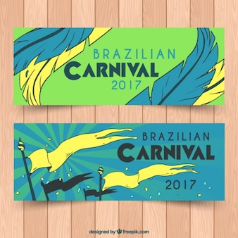 Flat banners with yellow details for brazilian carnival