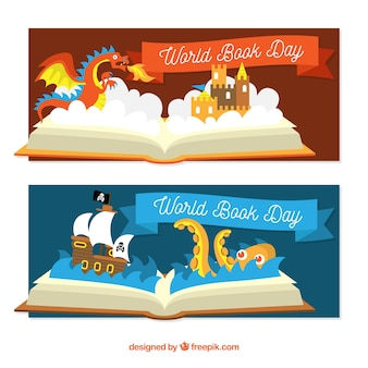 Flat banners for the world book day