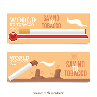 Flat banners for world no tobacco day