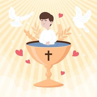 フラット洗礼の概念図 Premiumベクター