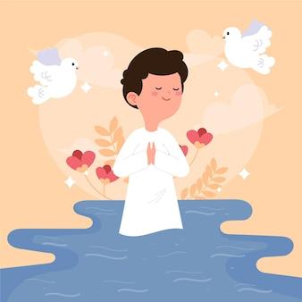 Illustrazione del concetto di battesimo piatto
