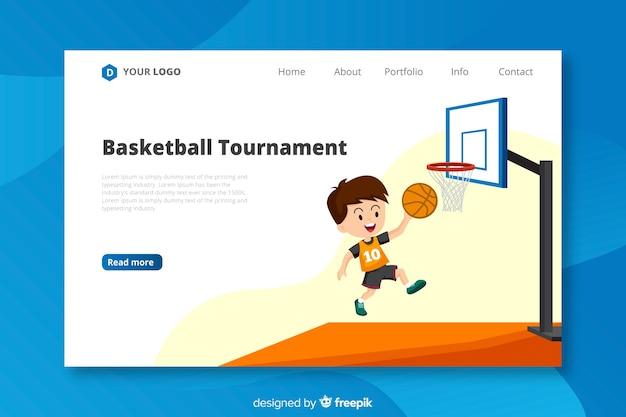Flat basketball landing page template