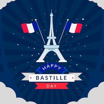Flat bastille day celebration illustration