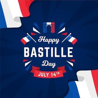 Flat bastille day concept