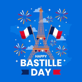 Flat bastille day illustration