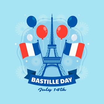Flat bastille day illustration