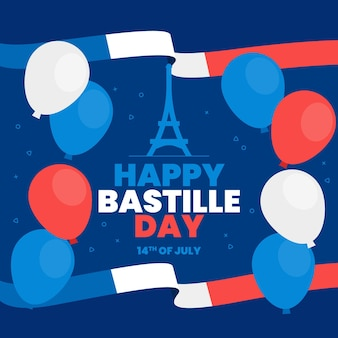 フラットフランス革命記念日イラスト