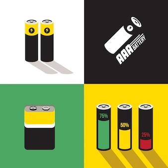 Flat battery icon set